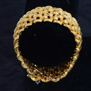 Large Gold Plated Woven Bracelet